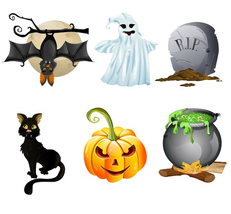 illustration of collection of Halloween icon set Vector
