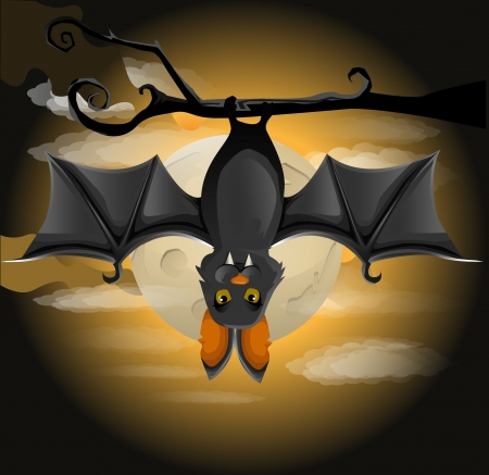 cartoon vampire: illustration of a bat hanging on a branch