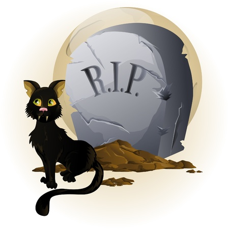 Halloween Cat on Tombstone Vector