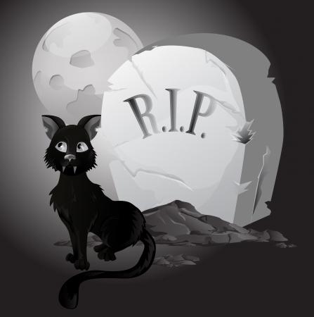 spooky graveyard: Black an white Halloween Cat on Tombstone Illustration