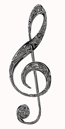 chiave di violino: tatuaggio chiave di violino Vettoriali