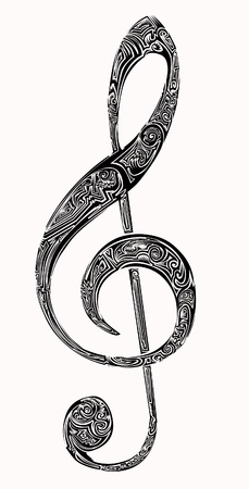 violin key tattoo Illustration