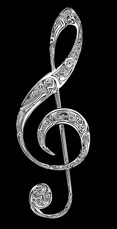 chiave di violino: Violino essenziali di carattere generale Vettoriali