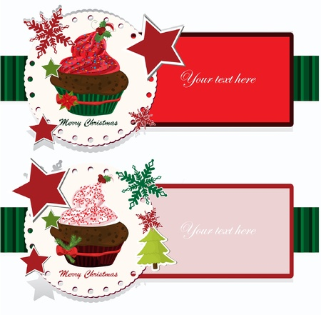 winter cherry: christmas banners with cupcake