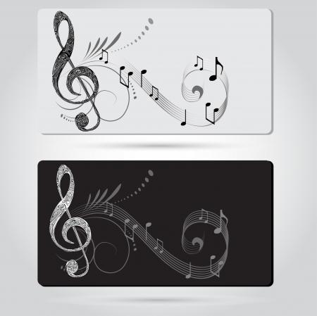 clave de fa: Plantillas tarjetas de Música Vectores