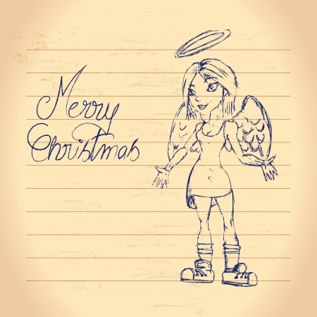 Cute christmas angel drawing Vector
