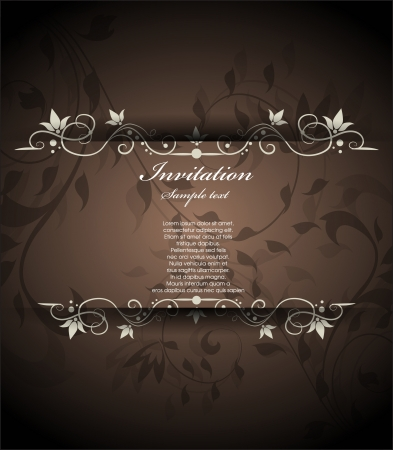 wedding reception: vintage floral invitation Illustration