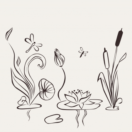 Abstract Water Flower Vector