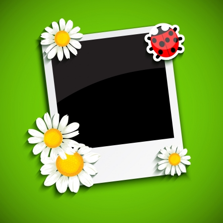 Photo frame with flowers Vector