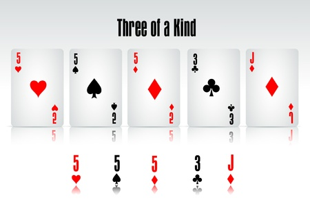 poker hand: Three of a Kind Illustration