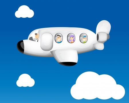 Funny cartoon airplane Vector