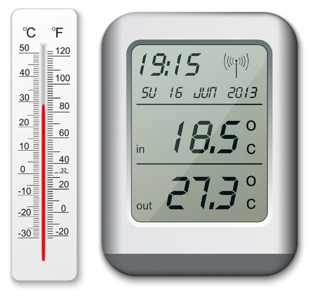 thermostat: Normal and digital thermometer Illustration