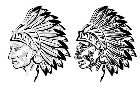 indian headdress: American Indian chief tattoo Illustration