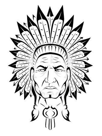 indian chief headdress: Capo indiano americano Vettoriali