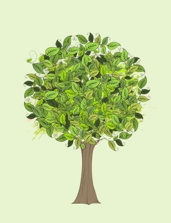 family isolated: Green tree