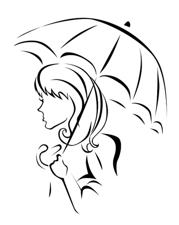 Girl with umbrella  Stock Vector - 19941610