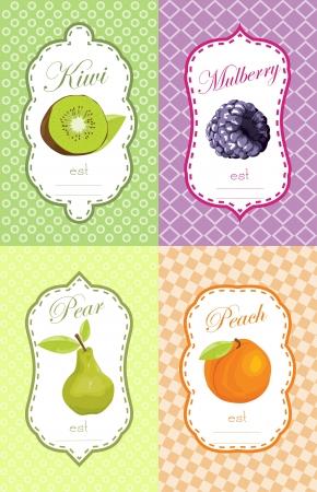 Fruits label design Ilustração