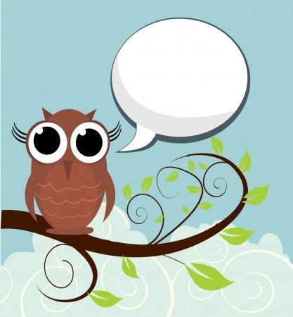 Owl On A Branch Ilustrace