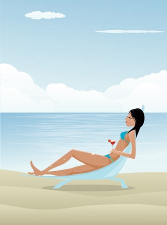 sunbathing: Woman relaxing on beach Illustration