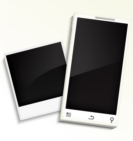 Mobile phone and photo frame Stock Vector - 21718878