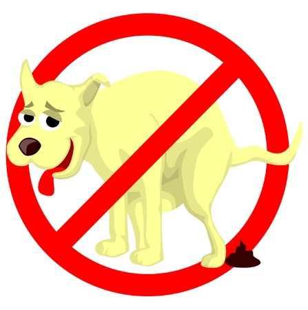 Cartoon dog poop sign Vector