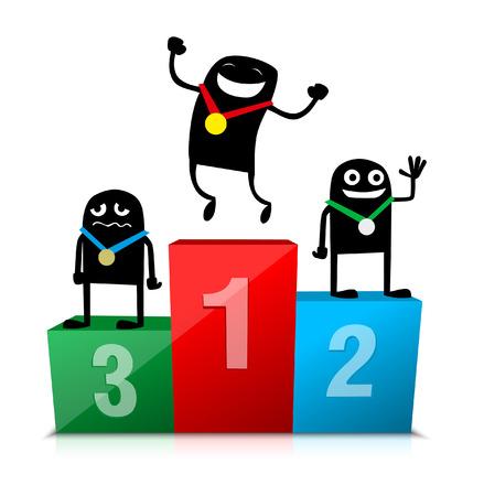 winners podium: Cartoon characters on podium