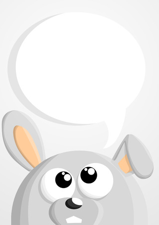 rabbit hole: Cute cartoon bunny with speech bubble Illustration