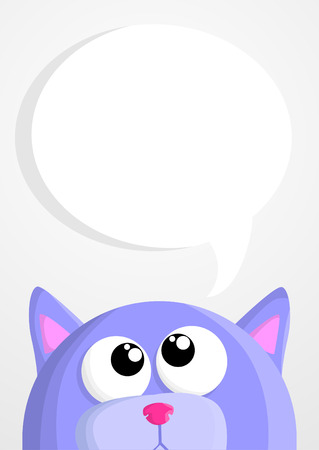 outline red: Cute cartoon cat with speech bubble