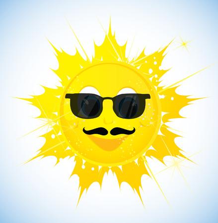 sol caricatura: Sol de la historieta en gafas de sol