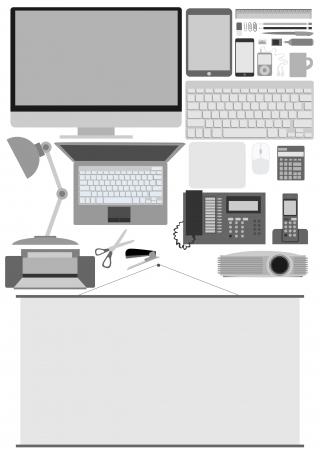 retro computer: Business office electronics Illustration