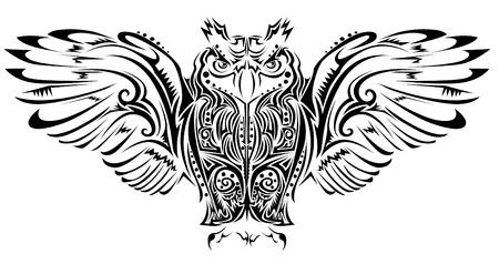 tribal wings: Owl tattoo