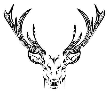 deer head: Abstract deer head tribal tattoo