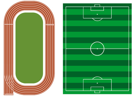 サッカーのフィールドと陸上競技トラックします。