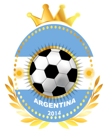 Soccer ball on Argentina flag Vector