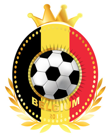 Soccer ball on Belgium flag Vector