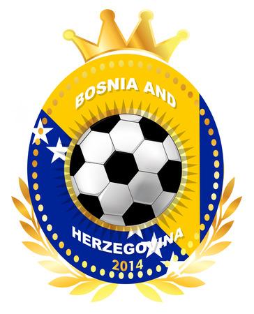 herzegovina: Soccer ball on Bosnia and Herzegovina flag