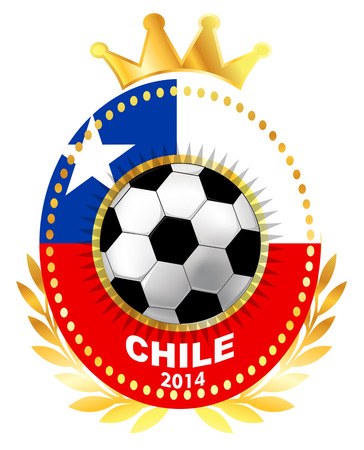 bandera de chile: Bal�n de f�tbol en la bandera de Chile