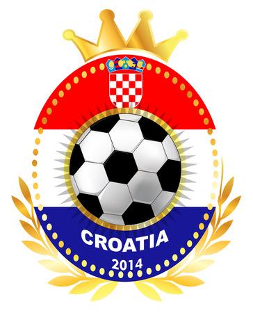 bandera de croacia: Balón de fútbol en la bandera de Croacia Vectores
