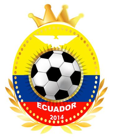 ecuador: Voetbal bal op de vlag van Ecuador