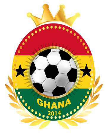 ghana: Le ballon de football sur le drapeau du Ghana