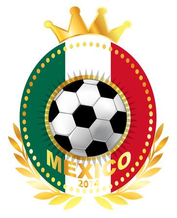 bandera mexico: Bal�n de f�tbol en la bandera de M�xico Vectores