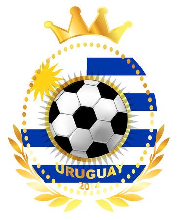 bandera de uruguay: Balón de fútbol en la bandera de Uruguay Vectores