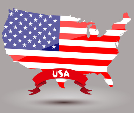 USA flag map Vector