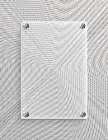 metalic background: Glass panel on metalic background