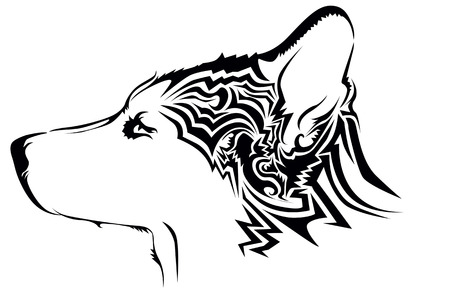 shaggy dog: Tribal wolf tattoo