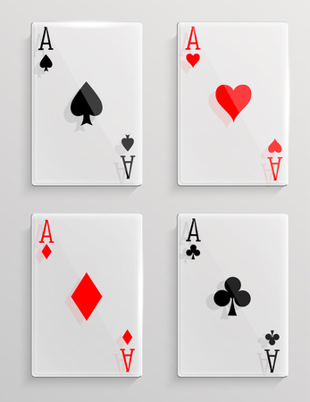 Glass poker cards Vector