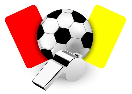 soccer referees hand with red card: Referee Whistle and Cards