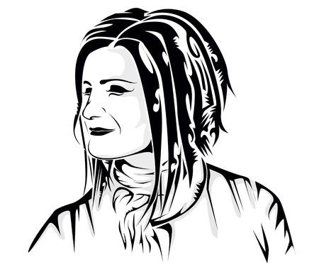 tattoo girl: Cara de la muchacha del tatuaje Vectores