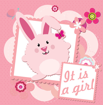 its a girl: Its a girl greeting card Illustration