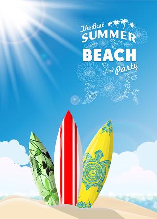 Surf boards on sea beach Vector